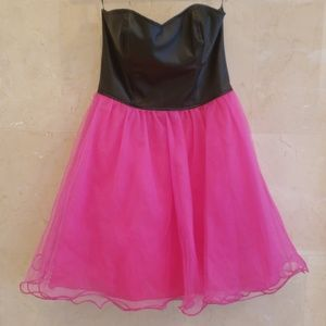 NWT Womens PINK LEATHER COCKTAIL PROM DRESS